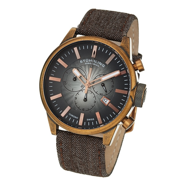Stuhrling Original Men's Concorso Sport Quartz Brown Leather Strap Watch