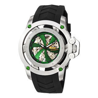 Stuhrling Xtreme Men's Impulse Green-Dial Automatic Skeleton Rubber-Strap Watch