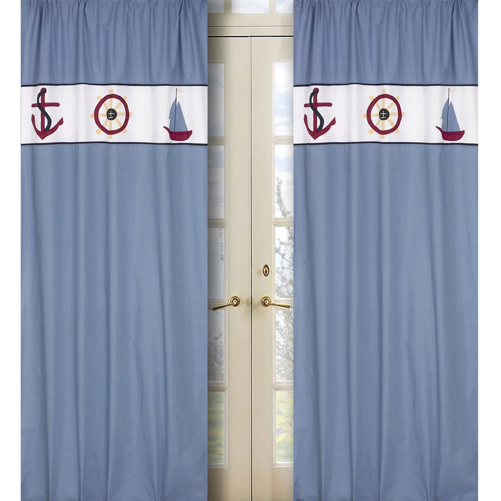 Sweet Jojo Designs Come Sail Away Blue 84-inch Curtain Panel Pair at Sears.com