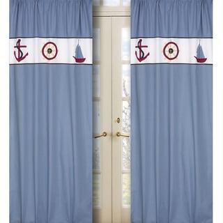 Come Sail Away Blue 84-inch Curtain Panel Pair