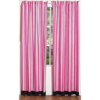 Pink and Black Madison Stripe 84-inch Curtain Panel Pair