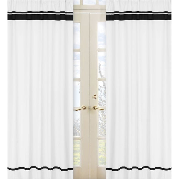 white and black 84 inch window treatment curtain panel pair for white