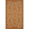Hand-hooked Orange Paisley Rug (3'6 x 5'6)