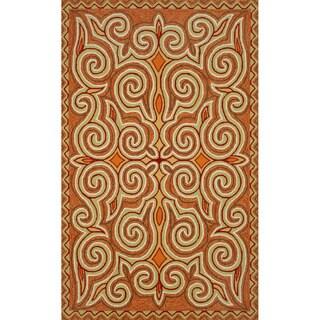 Hand-hooked Orange Paisley Rug (7'6 x 9'6)