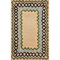 Hand-tufted Tan Primitive Rug (3'6 x 5'6)