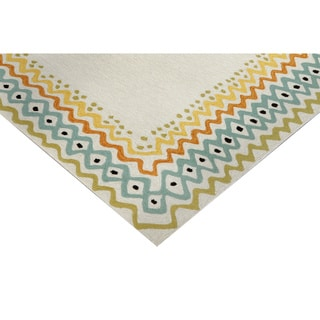 Hand-tufted Beige Primitive Rug (5' x 7'6)