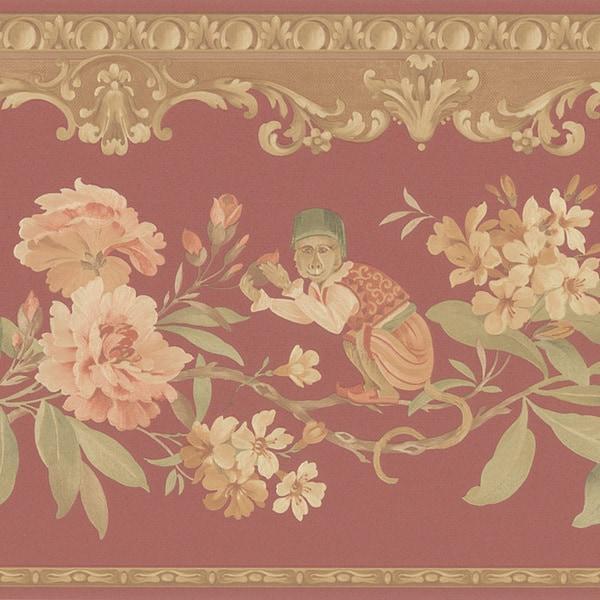 Red Monkey Floral Border Wallpaper