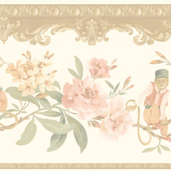 Peach Monkey Floral Border Wallpaper