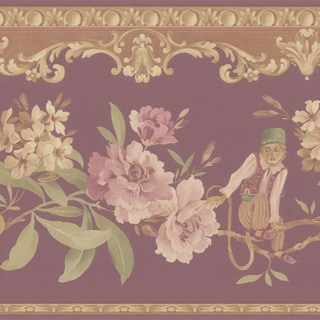 Burgundy Monkey Floral Border Wallpaper