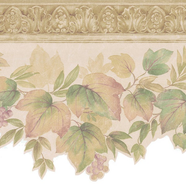 Beige Ornate Berry Leaf Border Wallpaper