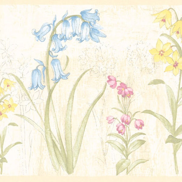 Pastel Flower Border Wallpaper