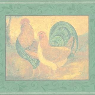 Green Rooster Border Wallpaper