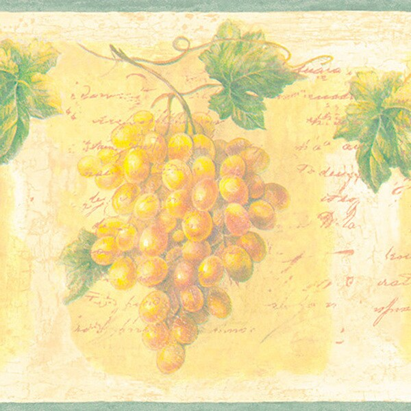 Gold Grapes Border Wallpaper