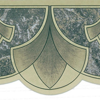Dark Green Art Nouveau Border Wallpaper
