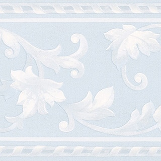Light Blue Scroll Border Wallpaper