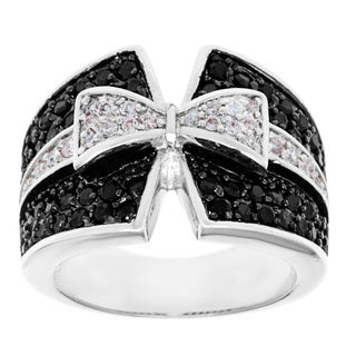 Kate Bissett Silvertone Clear and Onyx Cubic Zirconia Tuxedo Bow Tie Ring