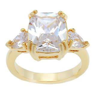Kate Bissett 14k Gold Overlay Cushion Cut Cubic Zirconia Teardrops Fashion Ring