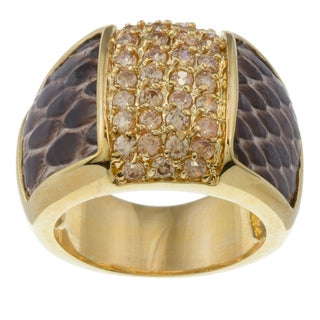 Kate Bissett 14k Gold Overlay Pink Cubic Zirconia and Snake Skin Ring