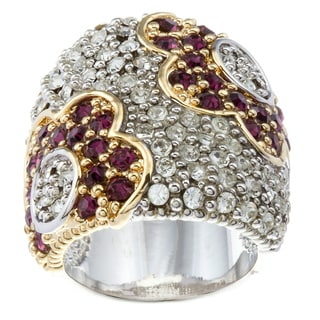 Kate Bissett 14k Gold Overlay Purple and Clear Cubic Zirconia Flower Ring