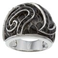 Kate Bissett Silvertone Black Cubic Zirconia Snake Skin Cocktail Ring