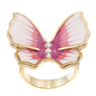 Kate Bissett 14k Gold Overlay Cubic Zirconia and Pastel Enamel Butterfly Cocktail Ring