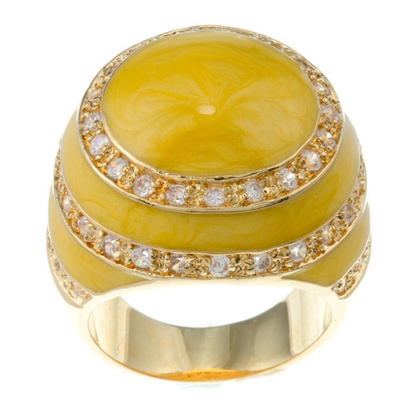 Kate Bissett 14k Gold Overlay Cubic Zirconia Yellow Enamel Dome Ring
