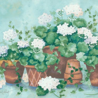Light Blue Terra Cotta Potted Flower Border Wallpaper