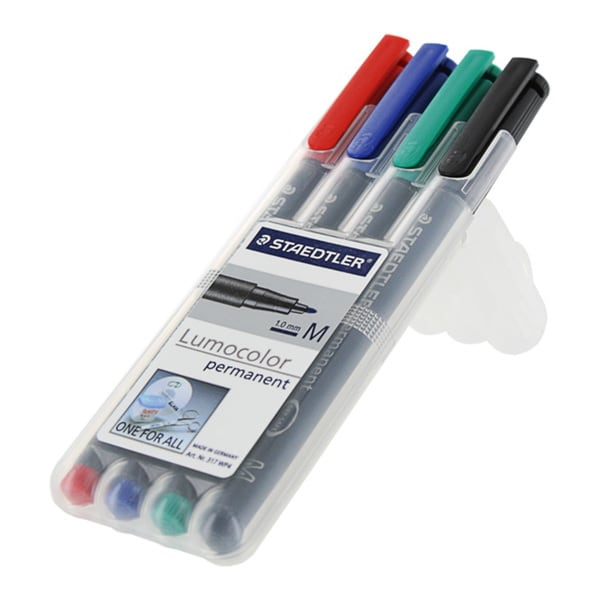 Staedtler Lumocolor Medium 1.0 mm Assorted Ink Permanent Markers (Pack of 4)