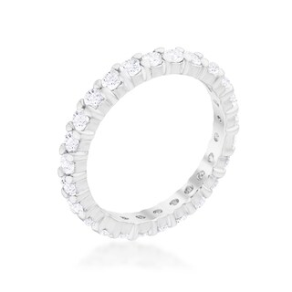 Kate Bissett Silvertone 3MM Cubic Zirconia Stackable Eternity Band