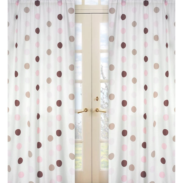 Pink and Brown Mod Dots 84-inch Curtain Panel Pair
