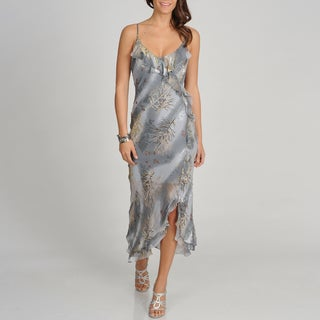Soulmates Women's Grey Branch Print Silk Blend Long Dress