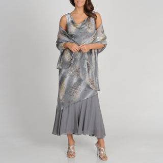 Soulmates Women's Grey Branch Print Silk Blend Sleeveless Cowl Dress