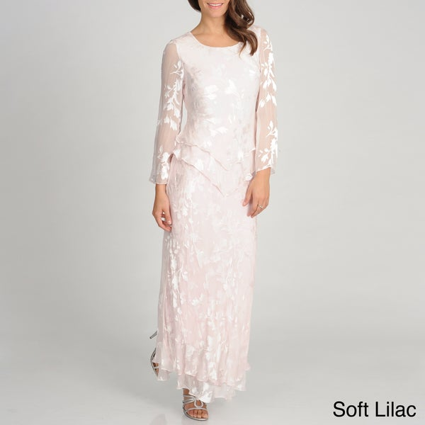 Soulmate Women's Silk Blend Sheer Sleeve Floral Gown