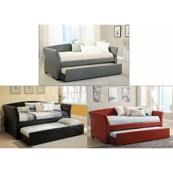 Overstock Daybeds With Trundle : Furniture of america buckies contemporary leatherette day