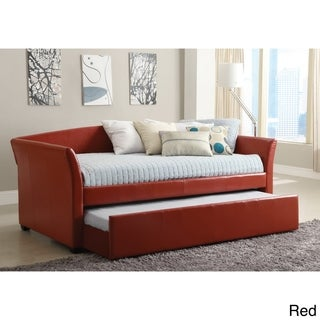 Enitial Lab Buckies Contemporary Leatherette Day Bed with Rolling with Trundle