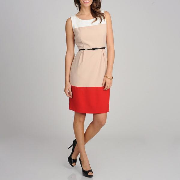 Sharagano Women's Colorblocked Sleeveless Belted Dress