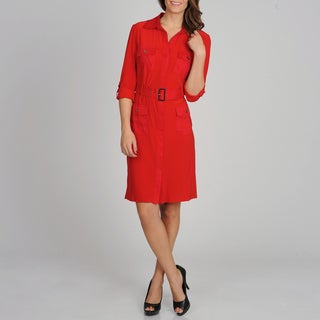 Sharagano Women's Bright Red Mixed Fabric Shirt Dress