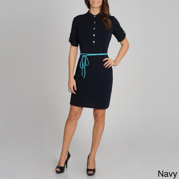Sharagano Women's Jersey Knit Belted Shirtdress