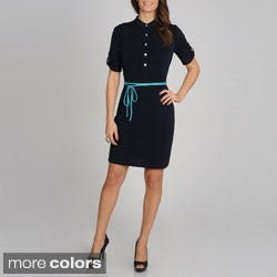 Sharagano Women's Jersey Knit Belted Shirtdress