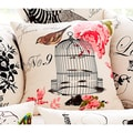 Cottage Home Bird Floral 20-inch Decorative Pillow