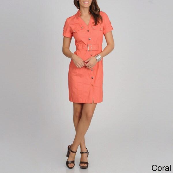 Sharagano Women's Denim Short Sleeve Shirtdress