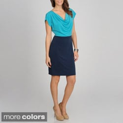Sharagano Women's Mock 2fer Colorblocked Dress