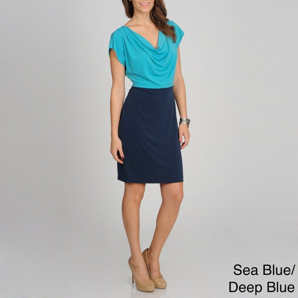 Sharagano Women's Mock 2fer Colorblocked Dress