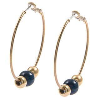 Kenneth Cole Blue Bead Hoop Earrings
