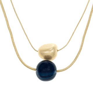 Kenneth Cole Goldtone Blue 2-row Necklace