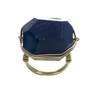 Kenneth Cole Goldtone Blue Wire Wrap Ring