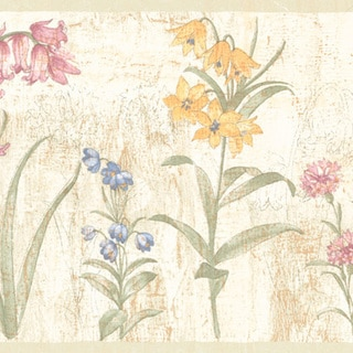 Mauve Flower Border Wallpaper