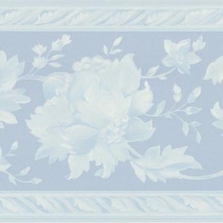 Blue Floral Border Wallpaper