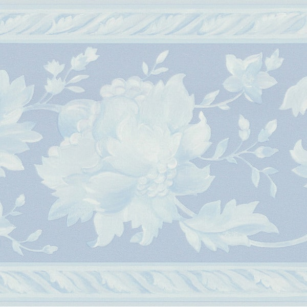 Blue Floral Border Wallpaper