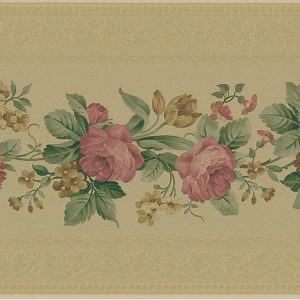 Tan Floral Border Wallpaper